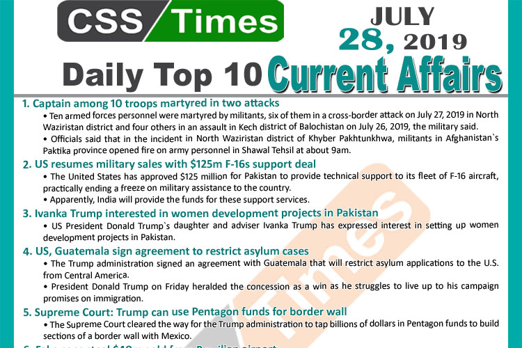 Day by Day Current Affairs (July 28, 2019)