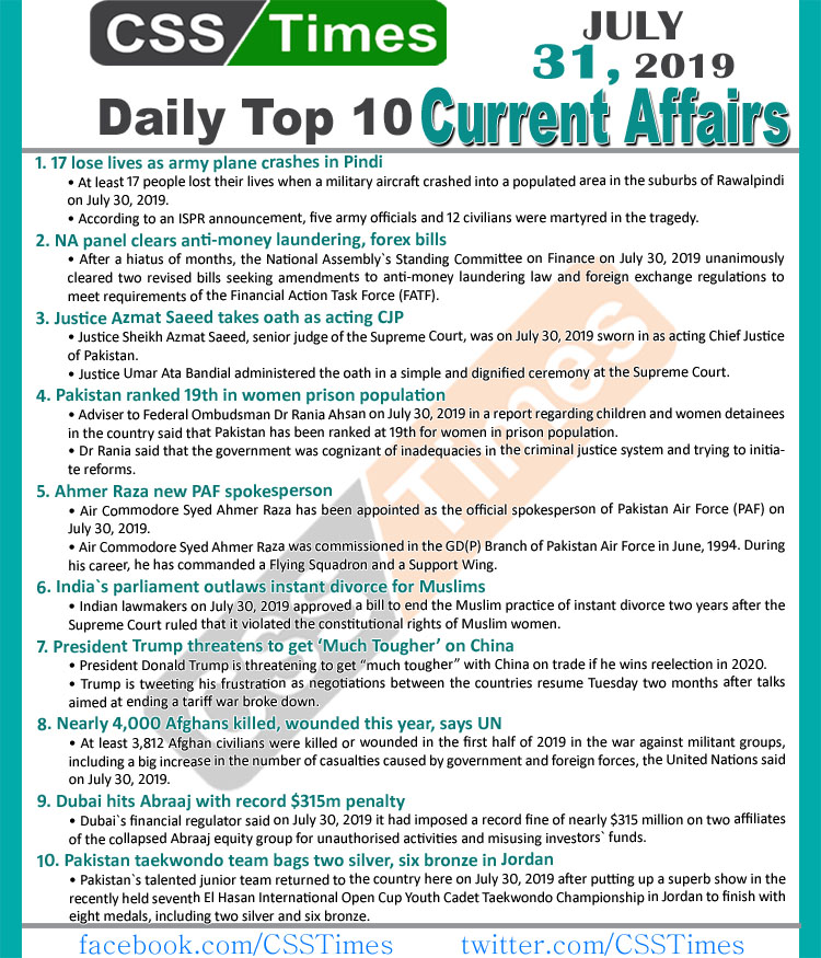 Day by Day Current Affairs (July 31, 2019) | MCQs for CSS, PMS