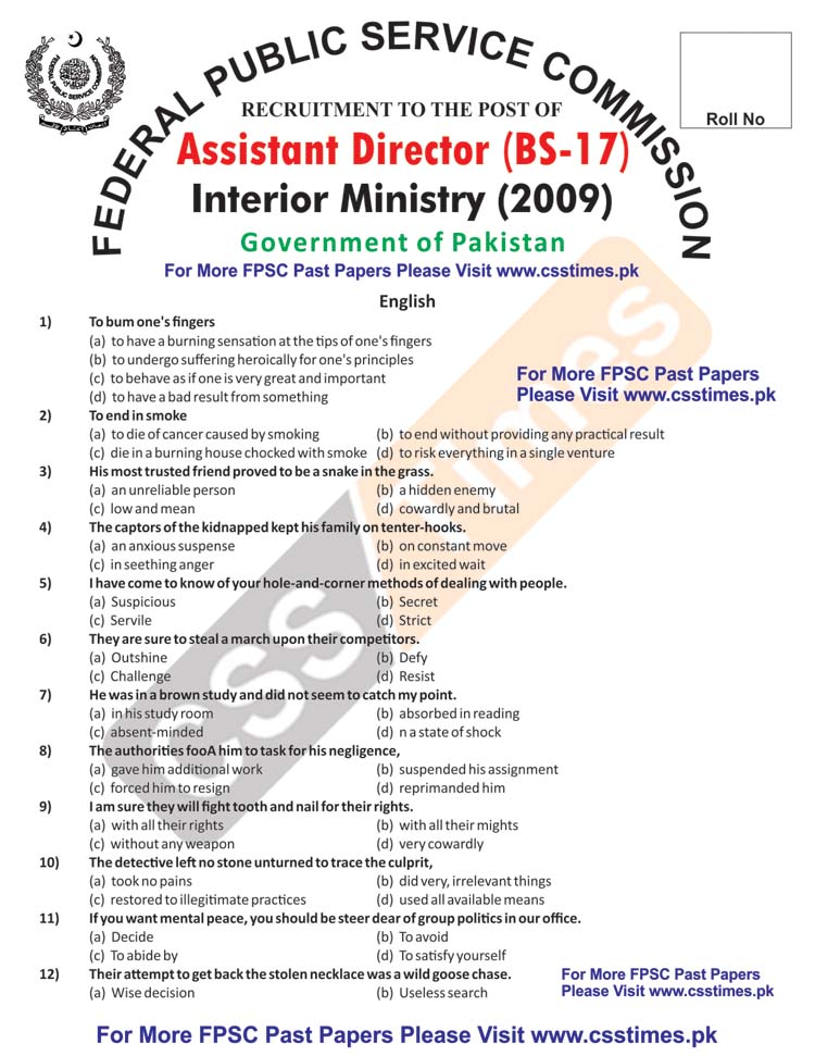Assistant Director Interior Ministry (BS-17) FPSC Paper 2009