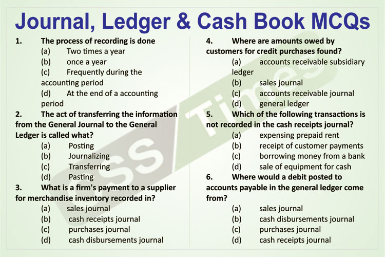 Journal, Ledger & Cash Book MCQs | for FPSC and other related One Paper MCQs Tests