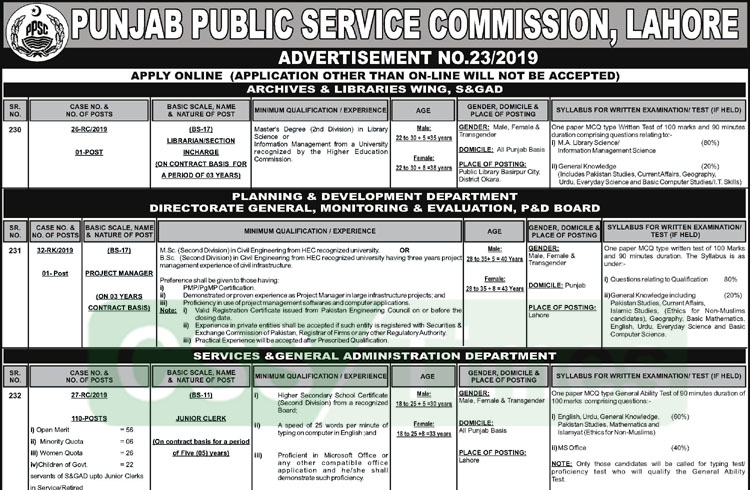 PPSC Advertise 112 New Jobs in S&GAD and other Departments