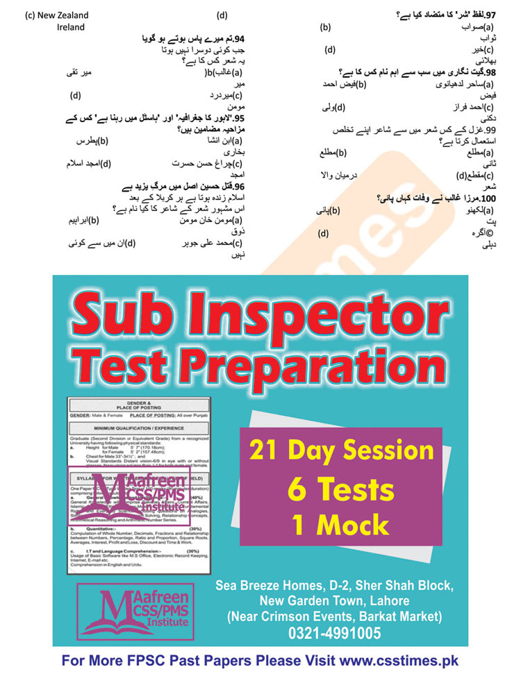 Sub Inspector BS - 14 Past Paper 2015