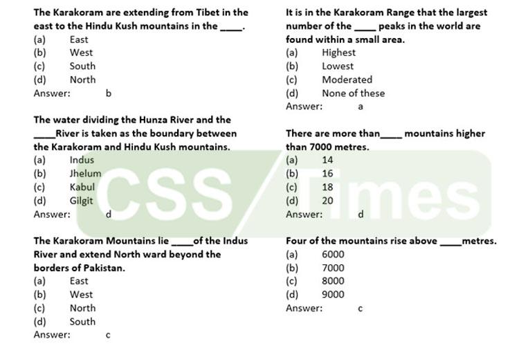 The Karakoram Mountains MCQs | Pakistan General Knowledge