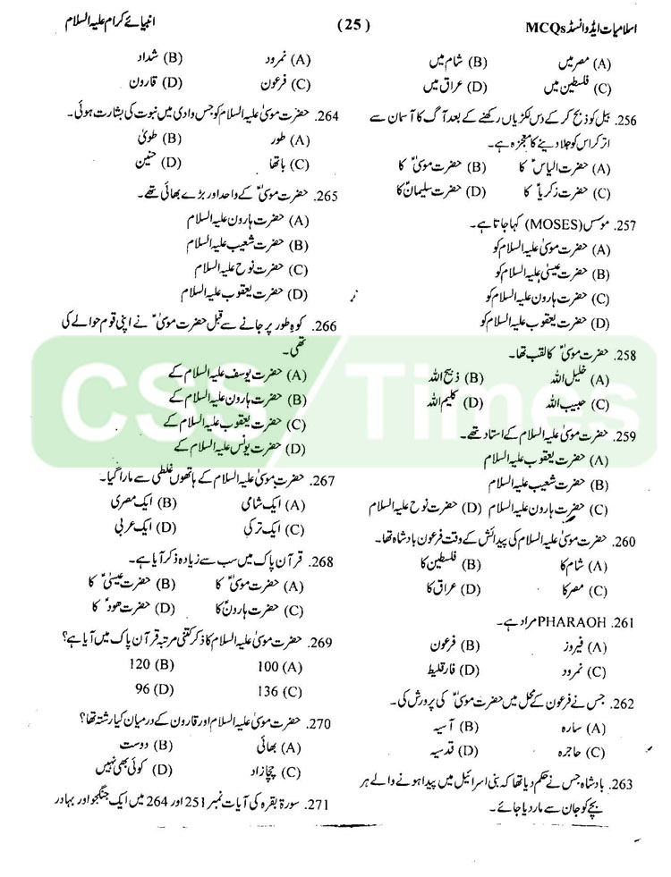 The Prophets (A.S) MCQs Islamiat MCQs for CSS and Competitive Exams