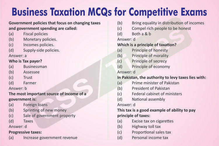 Accounting and Auditing MCQs | Business Taxation MCQs for Competitive Exams