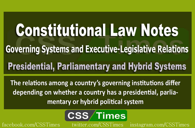 CSS Constitutional Law Notes | Governing Systems and Executive-Legislative Relations