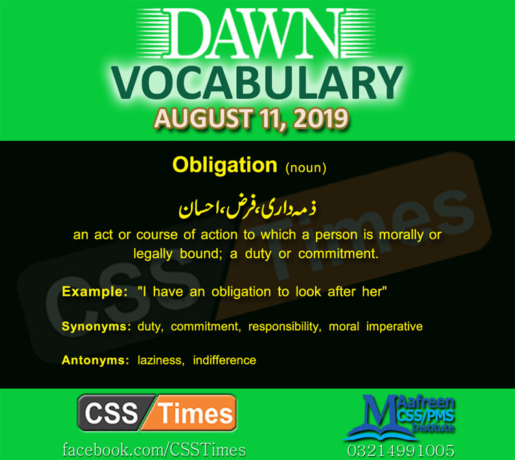 Daily Dawn Vocabulary with Urdu Meaning 11 August 2019