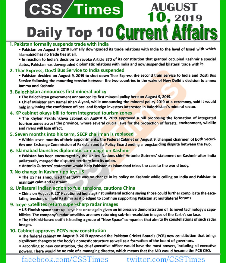 Day by Day Current Affairs (August 10, 2019) | MCQs for CSS, PMS