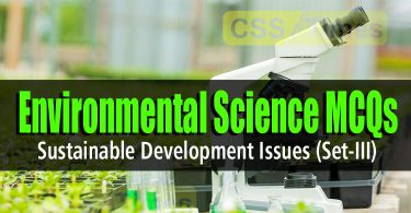 Environmental Science MCQs Sustainable Development Issues (Set-III)