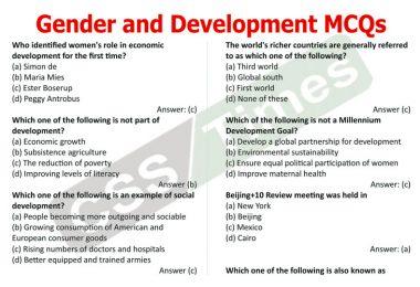 Gender Studies MCQS Gender and Development MCQs