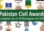 Pakistan Civil Awards Lists