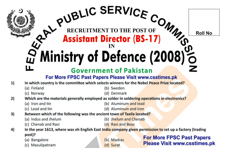Assistant Director Ministry of Defence (MoD) FPSC Paper 2008 (with Answer Keys)