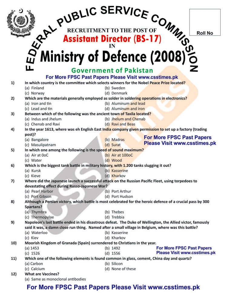 Assistant Director Ministry of Defence (MoD) FPSC Paper 2008