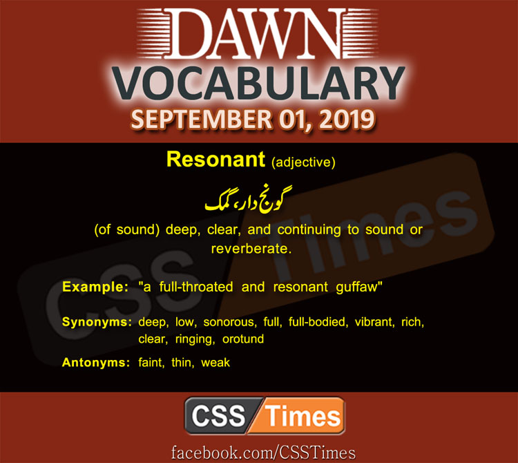 Daily Dawn Vocabulary with Urdu Meaning 01 September 2019