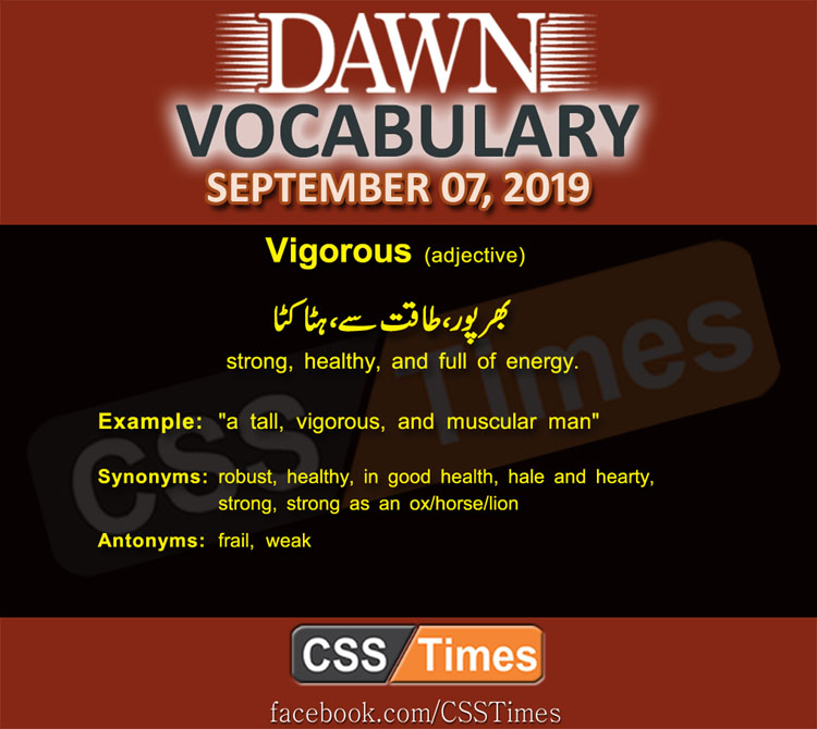 Daily Dawn Vocabulary with Urdu Meaning 07 September 2019
