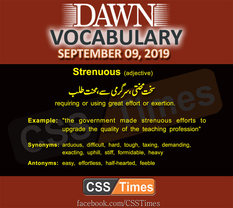 Daily Dawn Vocabulary with Urdu Meaning 09 September 2019