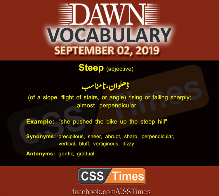 Daily Dawn Vocabulary with Urdu Meaning 02 September 2019