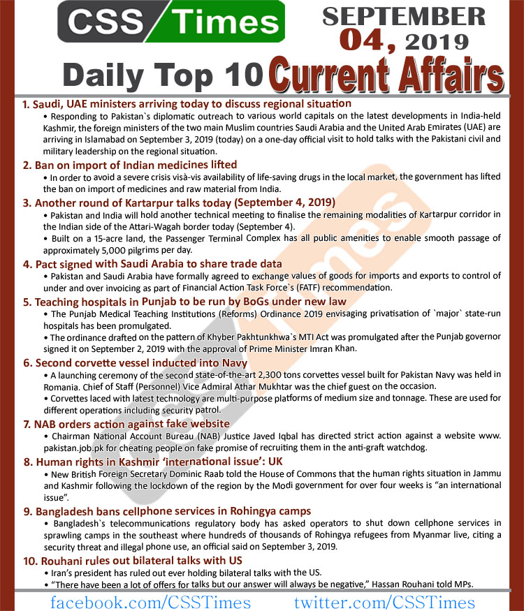 Day by Day Current Affairs (September 04, 2019)MCQs for CSS, PMS