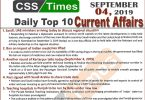 Current Affairs MCQs, Day by Day Current Affairs, MCQs for CSS, MCQs for PMS, September Current Affairs MCQs