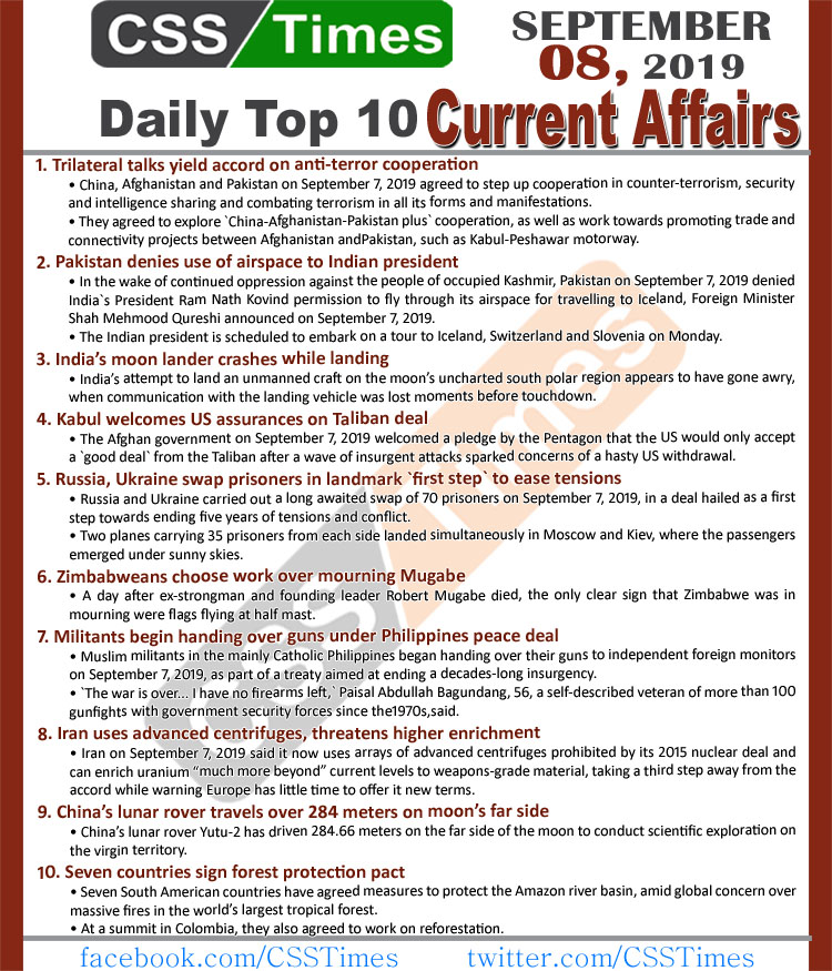 Day by Day Current Affairs (September 08, 2019) MCQs for CSS, PMS