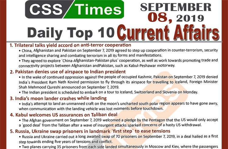 Day by Day Current Affairs (September 08, 2019) | MCQs for CSS, PMS