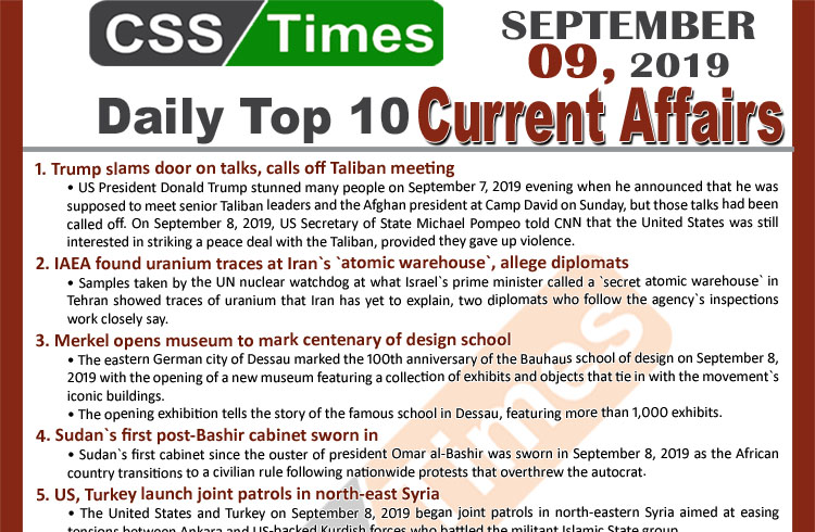 Day by Day Current Affairs (September 09, 2019)MCQs for CSS, PMS