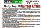 Day by Day Current Affairs (September 27, 2019) | MCQs for CSS, PMS