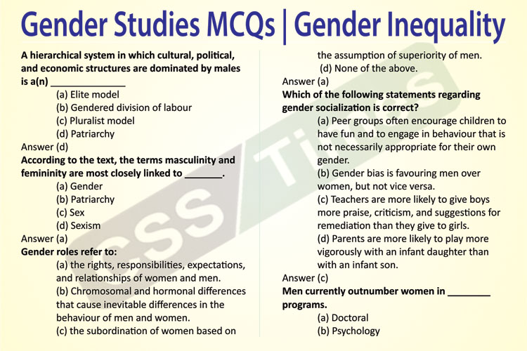 Gender Studies MCQs | Gender Inequality MCQs