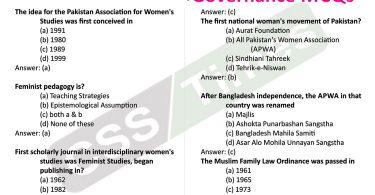 Gender Studies MCQs   (Gender and Governance MCQs)
