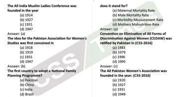 Gender Studies MCQs   Status of Women in Pakistan