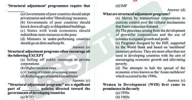 Gender Studies MCQS   Structural Adjustment' Programmes