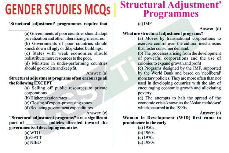Gender Studies MCQS | Structural Adjustment' Programmes