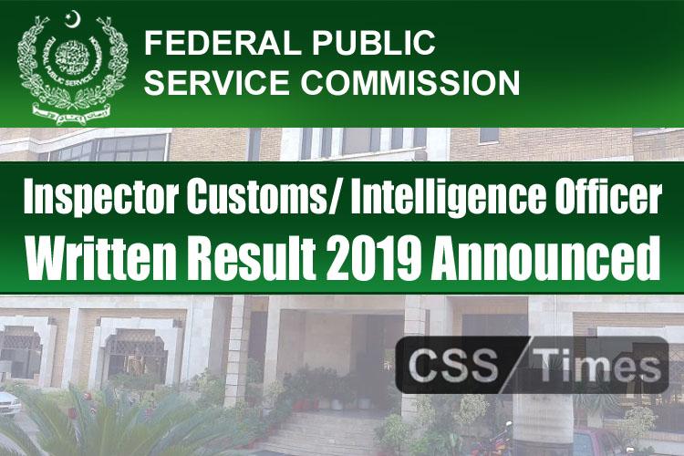 Inspector Customs Intelligence Officer Written Phase Result 2019 Announced