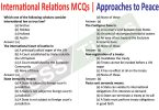 International Relations MCQs | Approaches to Peace