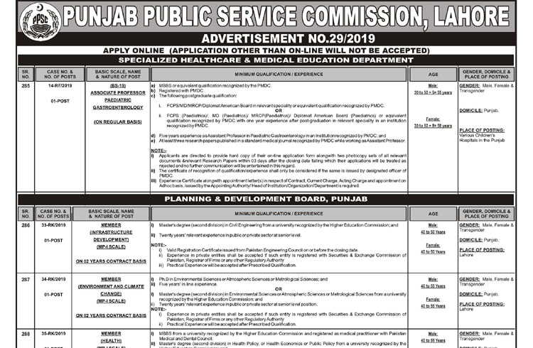 PPSC Advertisement for New Jobs