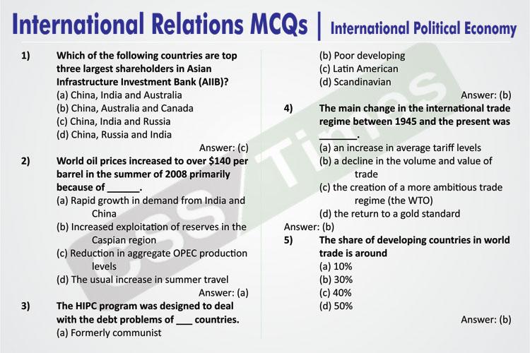 International Relations MCQs | International Political Economy