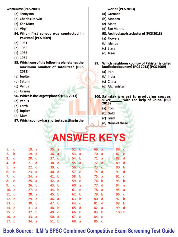 100 Most Important Questions For PCS Exams (from Past Papers)