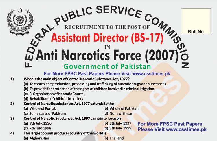 ASSISTANT DIRECTOR BS-17 Anti Narcotics Force (ANF) Paper 2007