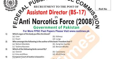 ASSISTANT DIRECTOR BS-17 Anti Narcotics Force (ANF) Paper 2008