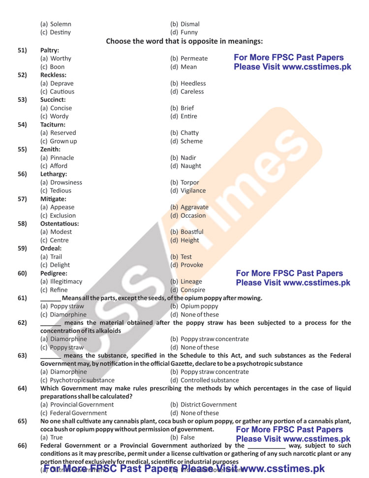 Assistant Director Anti Narcotics Force (ANF), BS-17 Paper 2008 (FPSC Past Papers)