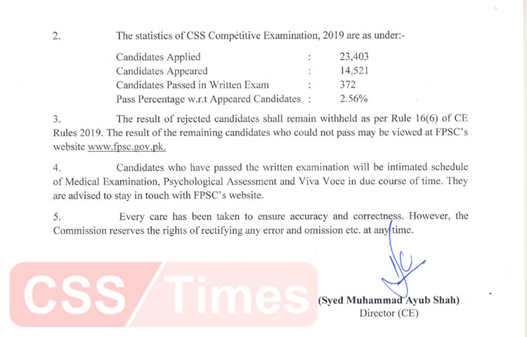 CSS 2019 Result