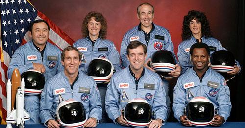 Challenger STS-51-L crew (front row) Michael J. Smith, Dick Scobee, Ronald McNair; (back row) Ellison Onizuka, Christa McAuliffe, Gregory Jarvis, Judith Resnik