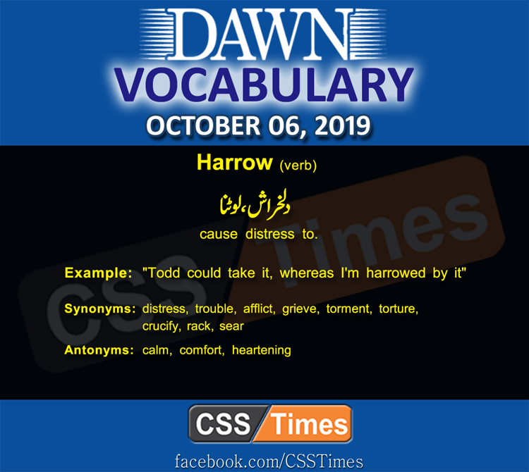 Daily Dawn Vocabulary with Urdu Meaning 06 October 2019