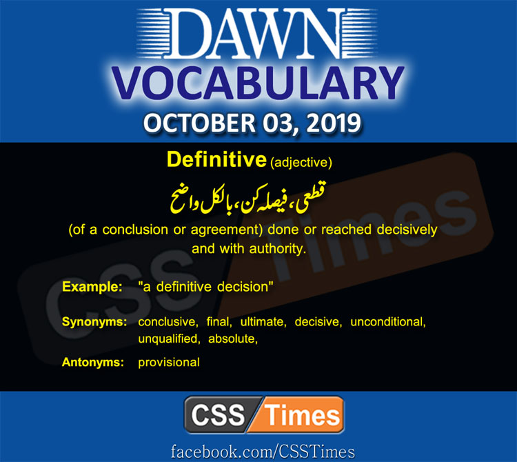 Daily Dawn Vocabulary with Urdu Meaning 03 October 2019