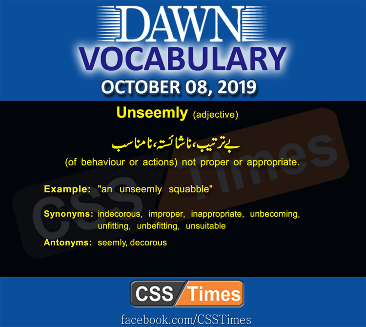 Daily Dawn Vocabulary with Urdu Meaning 08 October 2019