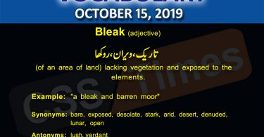 Daily Dawn Vocabulary with Urdu Meaning 15 October 2019