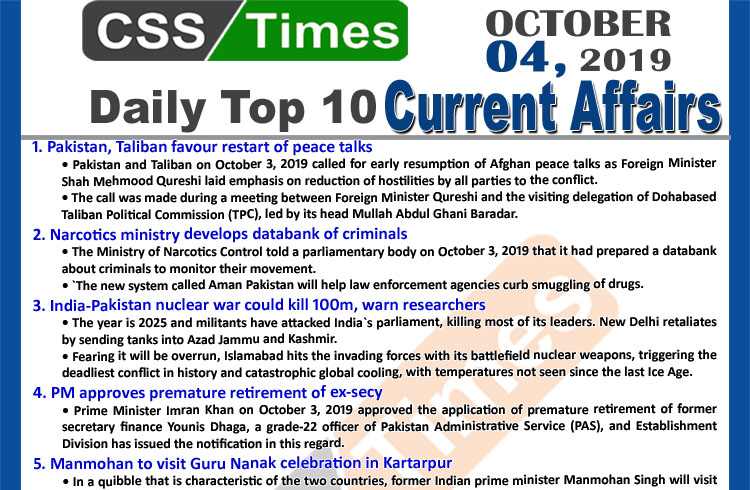 Day by Day Current Affairs (October 04, 2019) | MCQs for CSS, PMS