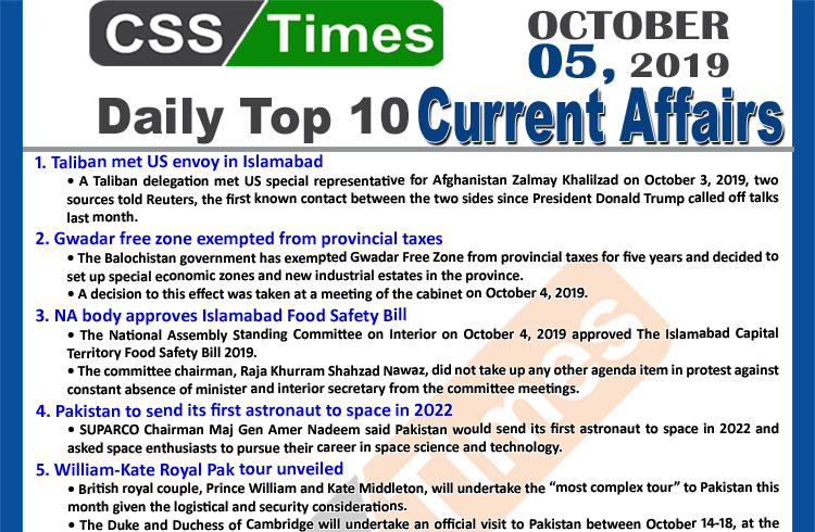 Day by Day Current Affairs (October 05, 2019) | MCQs for CSS, PMS