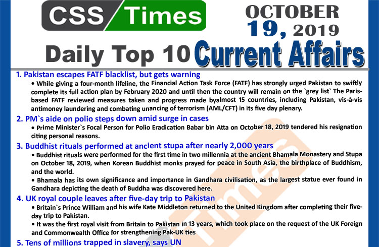 Day By Day Current Affairs October 19 2019 Mcqs For Css Pms