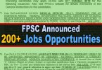 FPSC Announced 200+ New Jobs in Different Federal Departments (Govt of Pakistan)